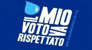 Una goccia di acqua per dire che il voto referendaio va rispettato